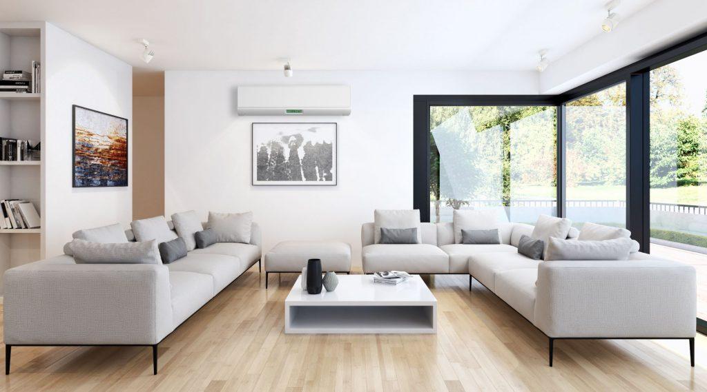 Casa com um ar-condicionado split instalado corretamente